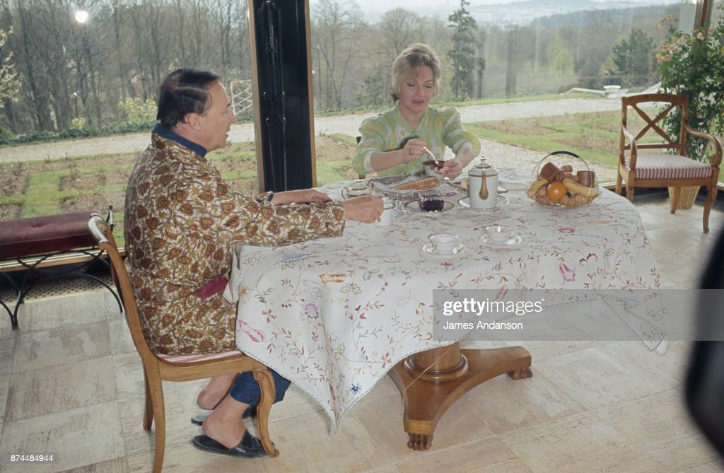 French singer and dancer Line Renaud at home with her husband Loulou Gaste, 27th April 1970.