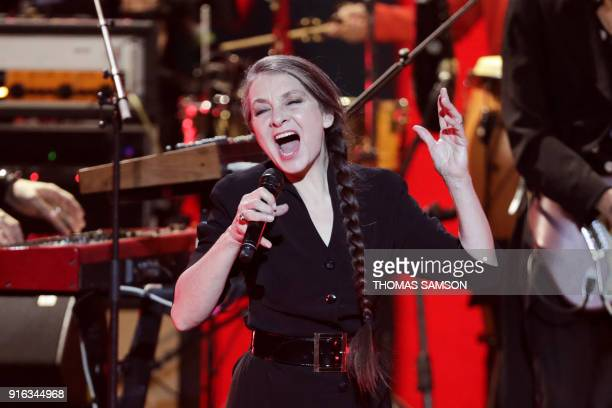 French singer and musician Catherine Ringer performs on stage during the 33rd Victoires de la Musique the annual French music awards ceremony on...