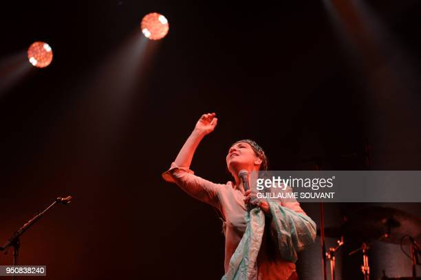 French singer and musician Catherine Ringer performs on stage during the opening of the 42nd edition of 'Le Printemps de Bourges' rock and pop music...