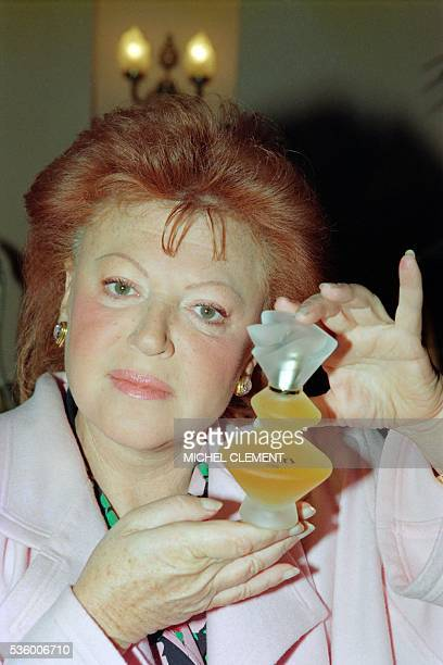 French singer and nightclub impresaria Régine launches a new fragrance Regine's on June 8 1989 at the pavilion of Le Doyen in Paris