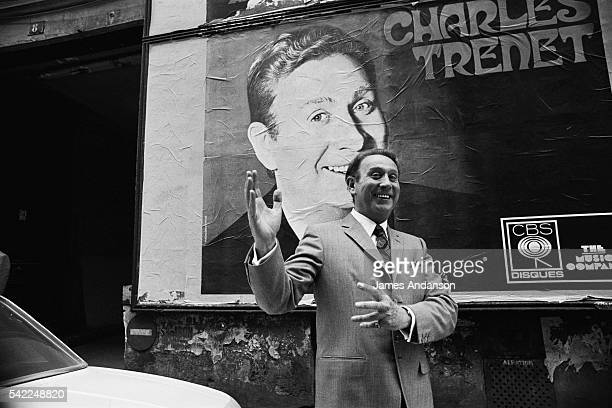 French singer and songwriter Charles Trenet rehearsing at the Olympia music hall.