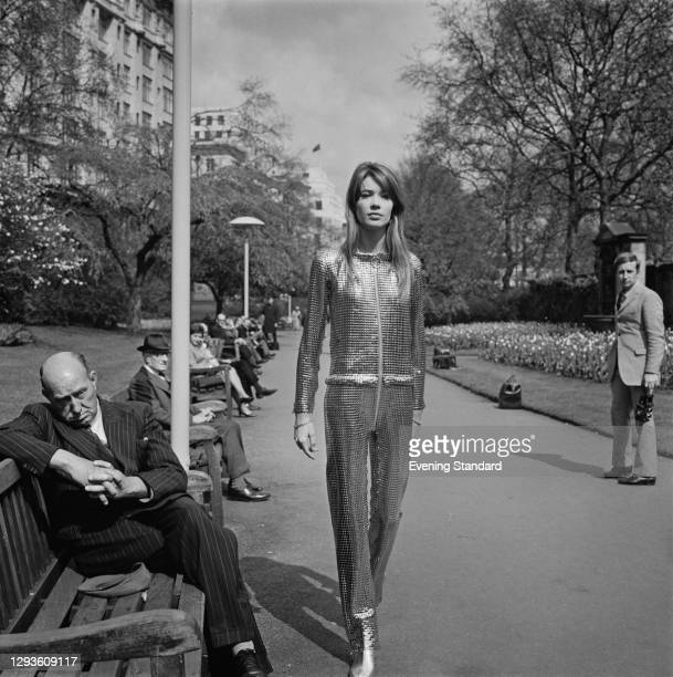 French singer and songwriter Françoise Hardy in Victoria Embankment Gardens in London, UK, 23rd April 1968.