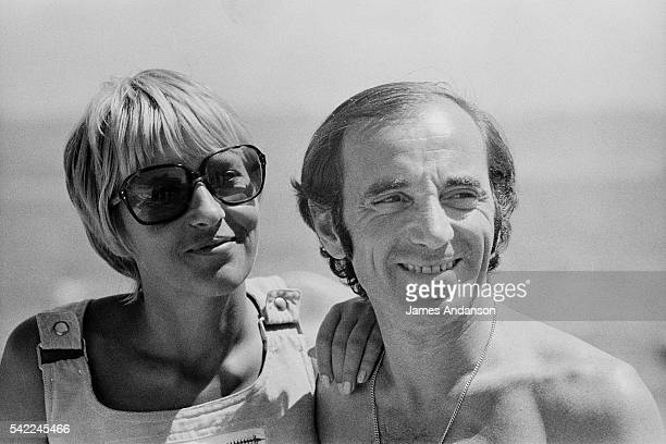 French singer and songwriter of Armenian origin Charles Aznavour with his third wife Swede Ulla Thorsell on holiday in the South of France