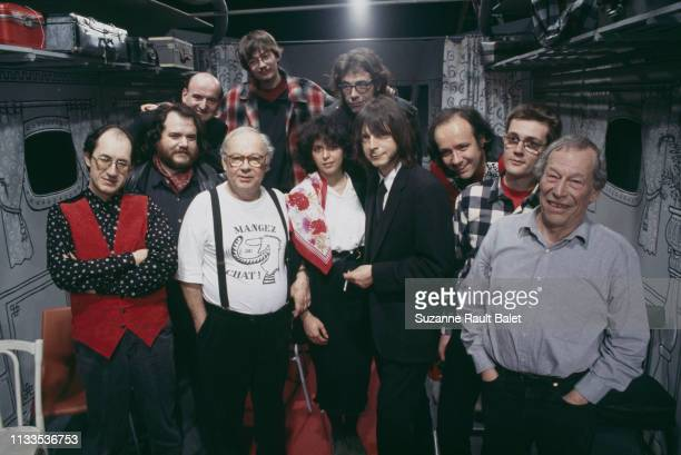 French singer and songwriter Renaud with Siné Gébé Luz and Tignous members of satirical weekly newspaper Charlie Hebdo on the set of the TV show Le...