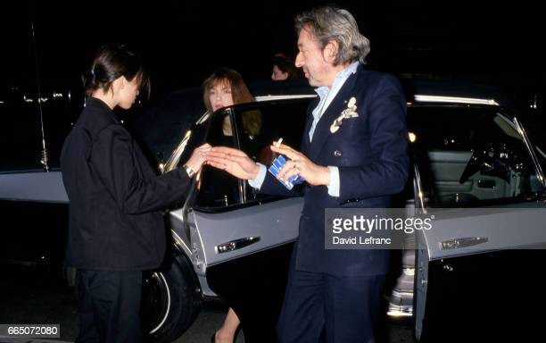 French singer and songwriter Serge Gainsbourg attends the 11th Cesar Awards ceremony with his partner Jane Birkin and their daughter Charlotte...