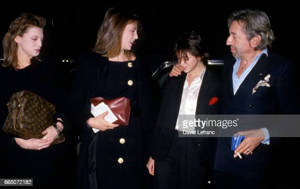 French singer and songwriter Serge Gainsbourg attends the 11th Cesar Awards ceremony with his partner Jane Birkin her daugther Kate Barry and their...