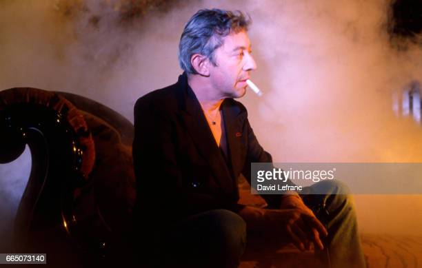 French singer and songwriter Serge Gainsbourg on the set of the videoclip of his song Love on the Beat at the Scala concert hall in Paris