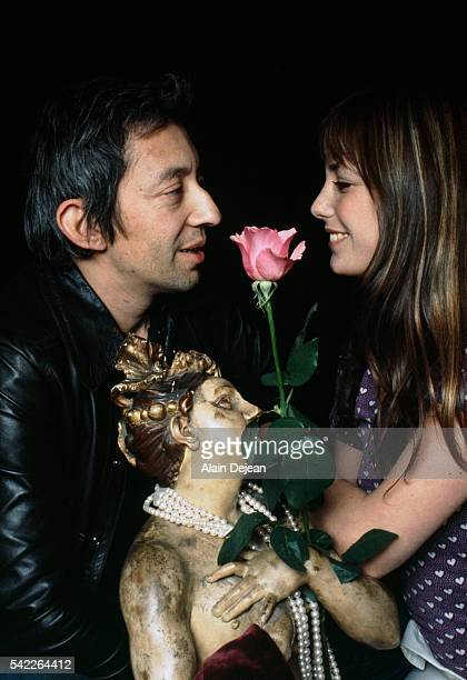 French singer and songwriter Serge Gainsbourg with his partner British singer and actress Jane Birkin at home in Paris.