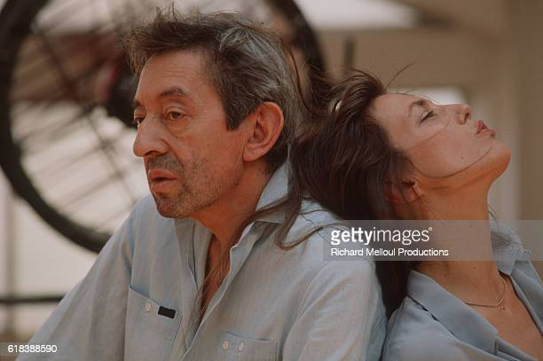 French singer and songwriter Serge Gainsbourg with his partner British singer and actress Jane Birkin