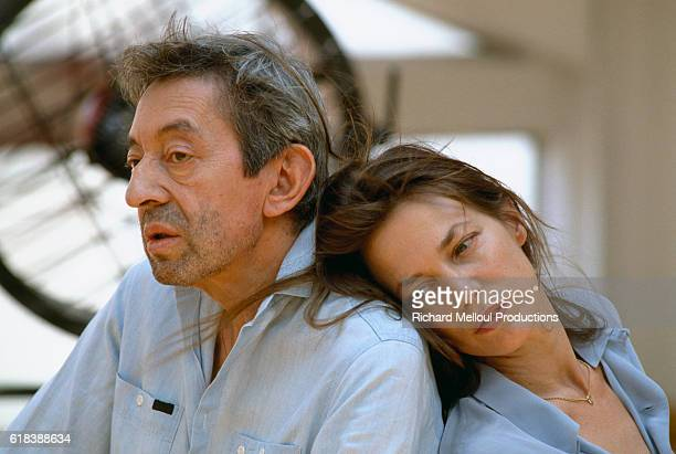French singer and songwriter Serge Gainsbourg with his partner, British singer and actress Jane Birkin.