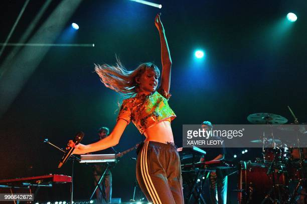 French singer Angele performs during the 34th edition of the Francofolies Music Festival in La Rochelle southwestern France on July 11 2018