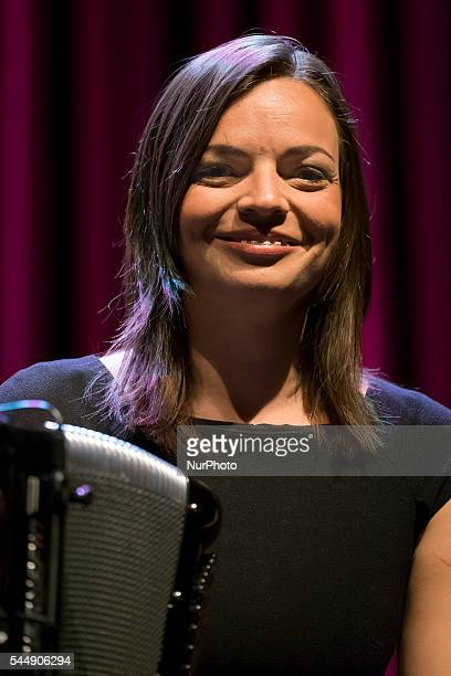 French singer Anne Carrere perfoms during the presentation of the musical 'Piaf The Show' at the Price Theatre in Madrid Spain 04 July 2016 The show...