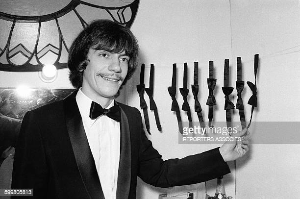 French Singer Antoine With His Collection Of Bow Ties In Paris France In 1968