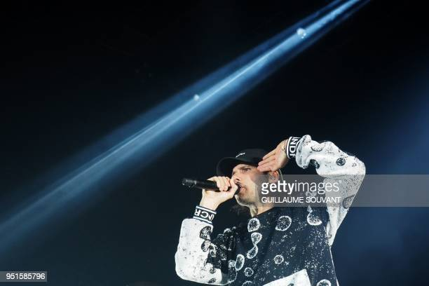 French singer Aurelien Cotentin aka Orelsan performs on stage during the 42th edition of 'Le Printemps de Bourges' rock and pop music festival in...