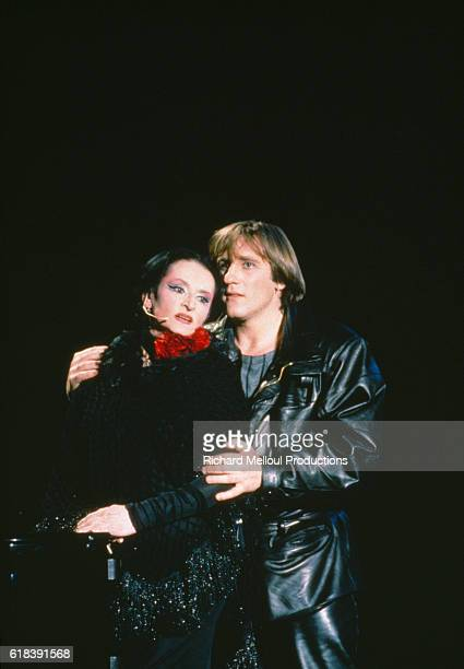French singer Barbara and the French actor Gerard Depardieu during rehearsals for the theater play 'Lili Passion'