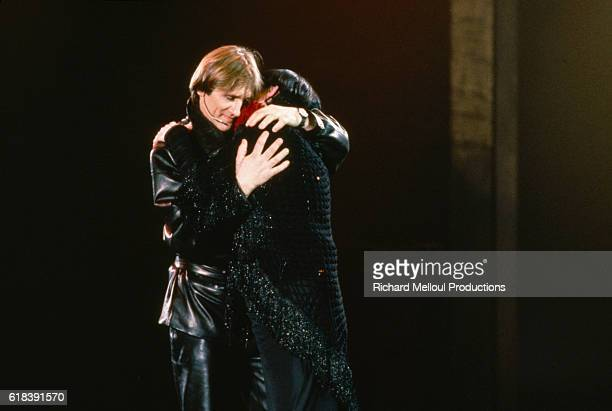French singer Barbara and the French actor Gerard Depardieu during rehearsals for the theater play Lili Passion