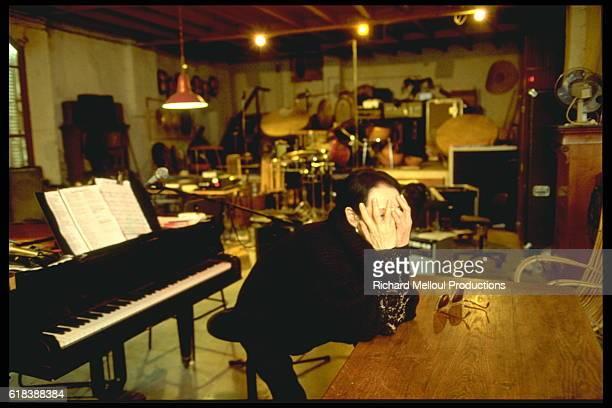 French singer Barbara at home.