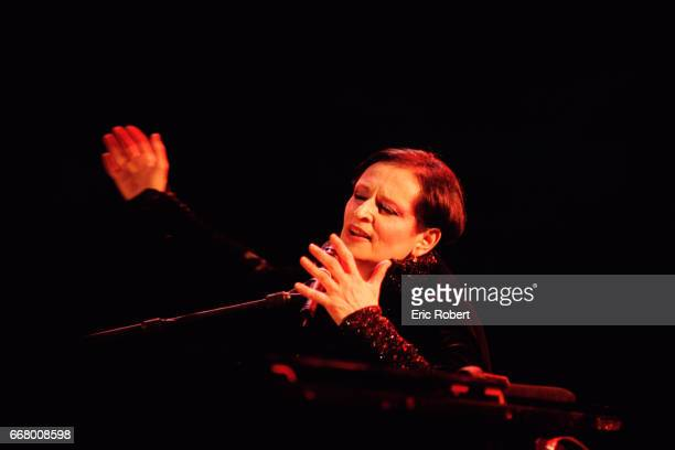 French singer Barbara performs on stage at the Theatre du Chatelet, in Paris.