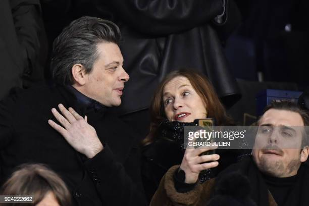 French singer Benjamin Biolay and French actress Isabelle Huppert attend the French L1 football match between Paris SaintGermain and Marseille at the...