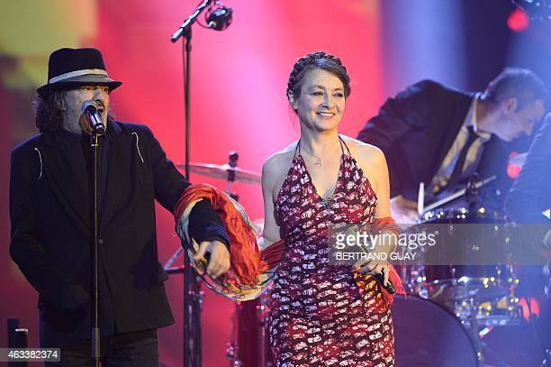 French singer Catherine Ringer and Algerian singer Rachid Taha perform during the 30th Victoires de la Musique the annual French music awards...