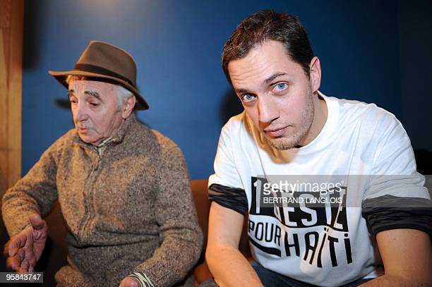 French singer Charles Aznavour and Slam poet Grand Corps Malade addresses journalists while recording with a dozen of French rappers and pop stars a...