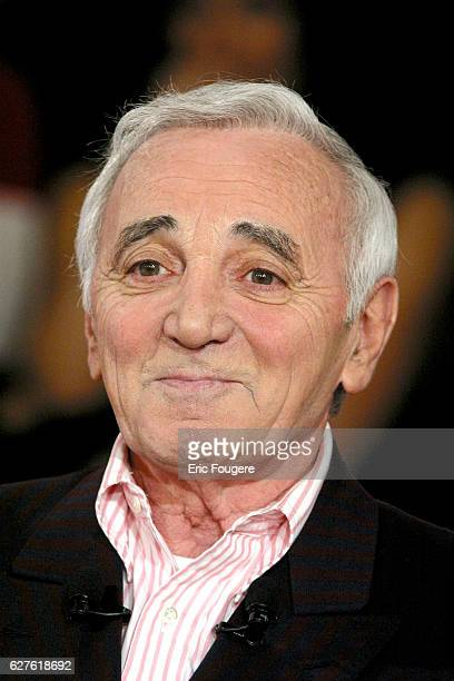 French singer Charles Aznavour during the sunday show 'Vivement Dimanche' presented by Michel Drucker who's guest is the French actress Danielle...