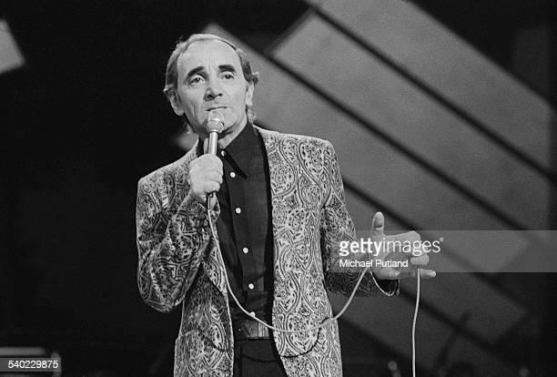French singer Charles Aznavour performing 1st April 1975