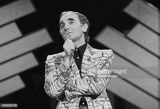 French singer Charles Aznavour performing 1st April 1975