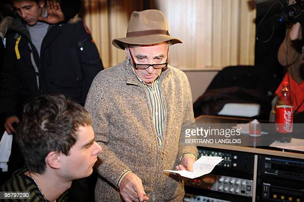 French singer Charles Aznavour prepares to record with a dozen of French rappers and pop stars a music video to raise funds for quakestricken Haiti...