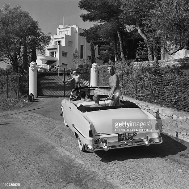 French singer Charles Trenet on summer holidays in 1950