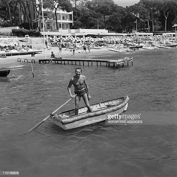French singer Charles Trenet on summer holidays in 1950.