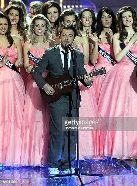 French singer Christophe Mae performs on stage at the Miss France Pageant 2009 on December 6, 2008 at Le Puy du Fou, France
