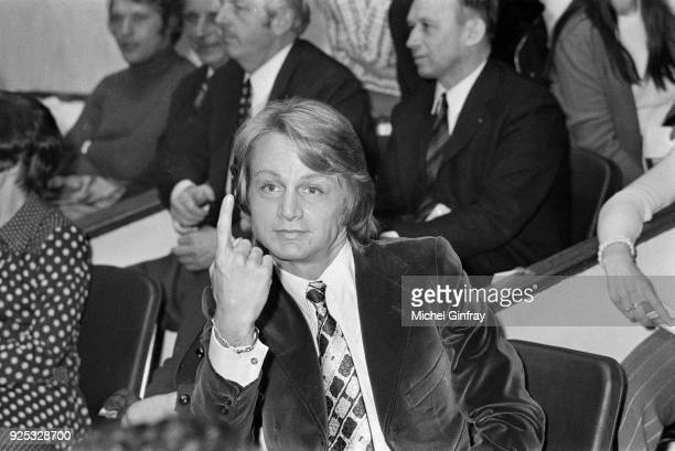 French singer Claude François is attending as president of the tournament a volleyball match between journalists and artists 22nd March 1972