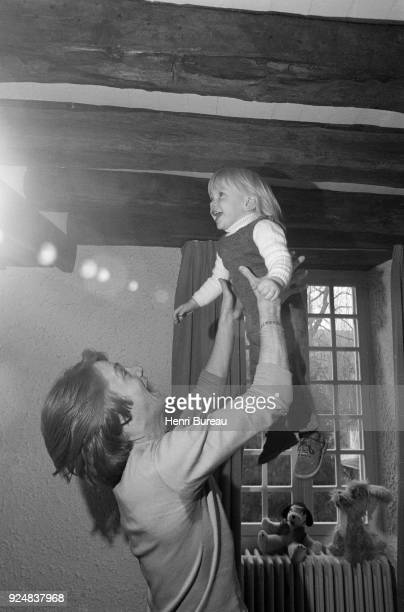 French singer Claude François with his son Claude Francois Junior at home near Fontainebleau April 1970