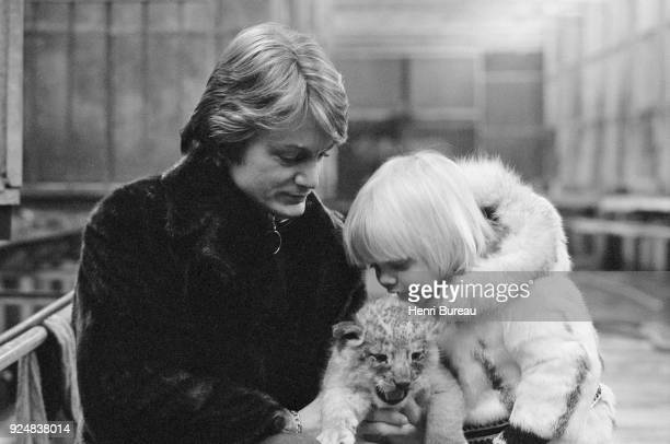 French singer Claude François with his son Claude Francois Junior at Thoiry's zoo 4th January 1971
