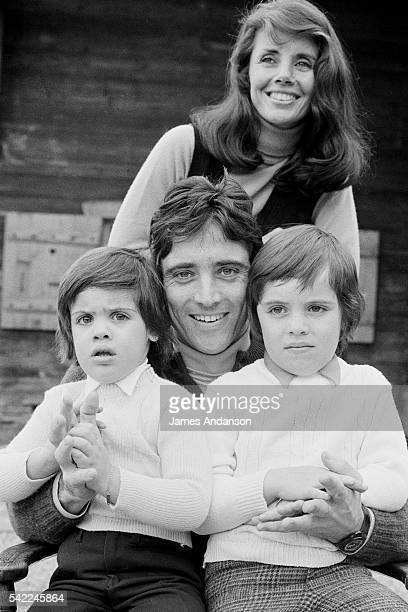 French singer composer and jazz guitarist Sacha Distel with his wife championship Olympic skier Francine Bréaud and their sons Julien and Laurent