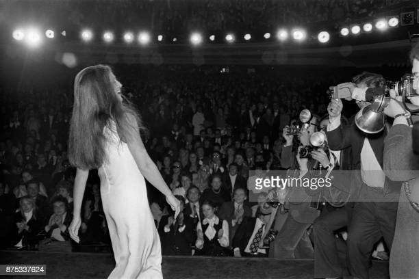 French singer Dalida performs in front of public and press photographers 23 November 1971 at Olympia musichall in Paris Dalida was an Egyptianborn...