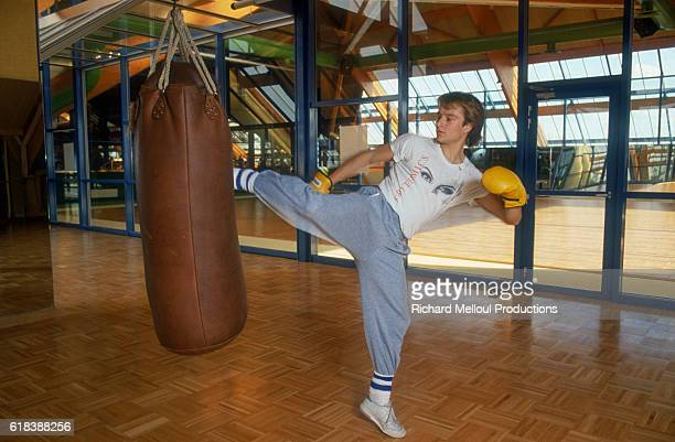 French singer David Hallyday practices aikido at a club in MarlyleRoi France