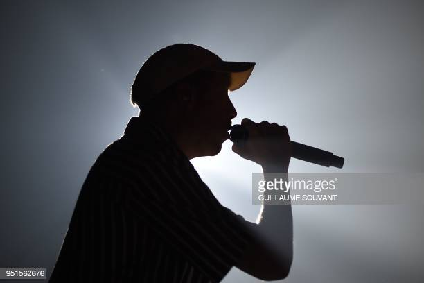 French singer Eddy de Pretto performs during the 42nd edition of 'Le Printemps de Bourges' rock and pop music festival in Bourges on April 26 2018