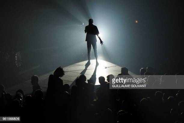 French singer Eddy de Pretto performs on stage during the 42nd edition of 'Le Printemps de Bourges' rock and pop music festival in Bourges on April...