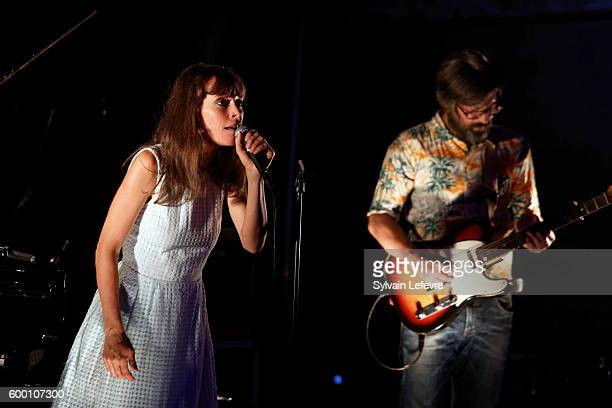 French singer Emily Loizeau performs on stage during SFR Party at 9th Angouleme FrenchSpeaking Film Festival on August 27 2016 in Angouleme France