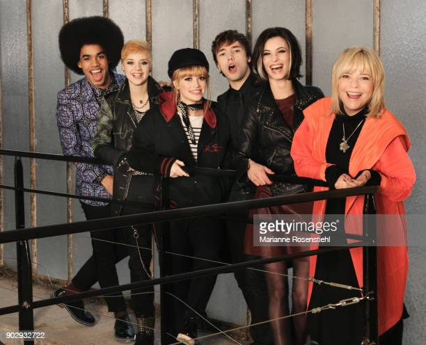 French singer France Gall and the members of the cast of the musical 'Resiste'