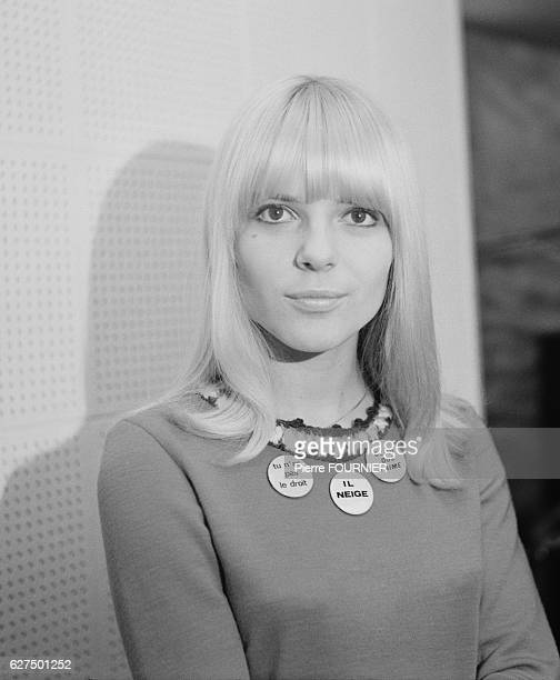 French singer France Gall in a recording studio