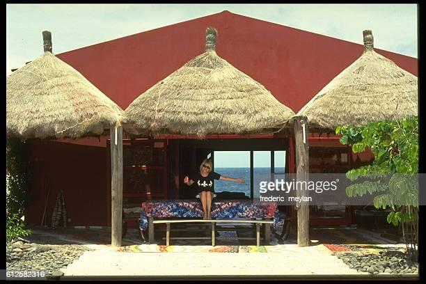 French singer France Gall in her home in Dakar