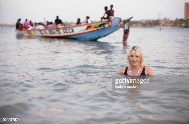 French singer France Gall in her home in Dakar