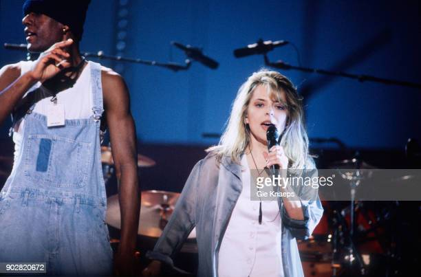 French singer France Gall performs on stage at Vorst Nationaal Brussels Belgium 11th November 1993