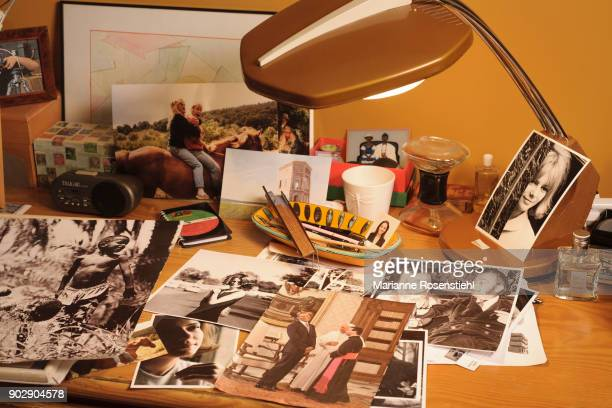 French singer France Gall portraits on her desk