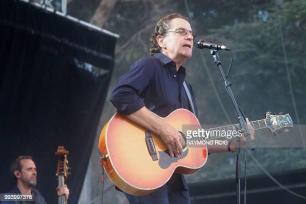 French singer Francis Cabrel performs on the stage of Les Deferlantes festival in ArgelessurMer southern France on July 8 2018