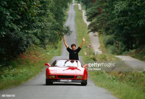French Singer Francois Feldman in Sports Car