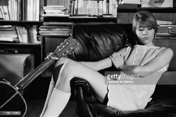 French singer Francoise Hardy at home, 1974
